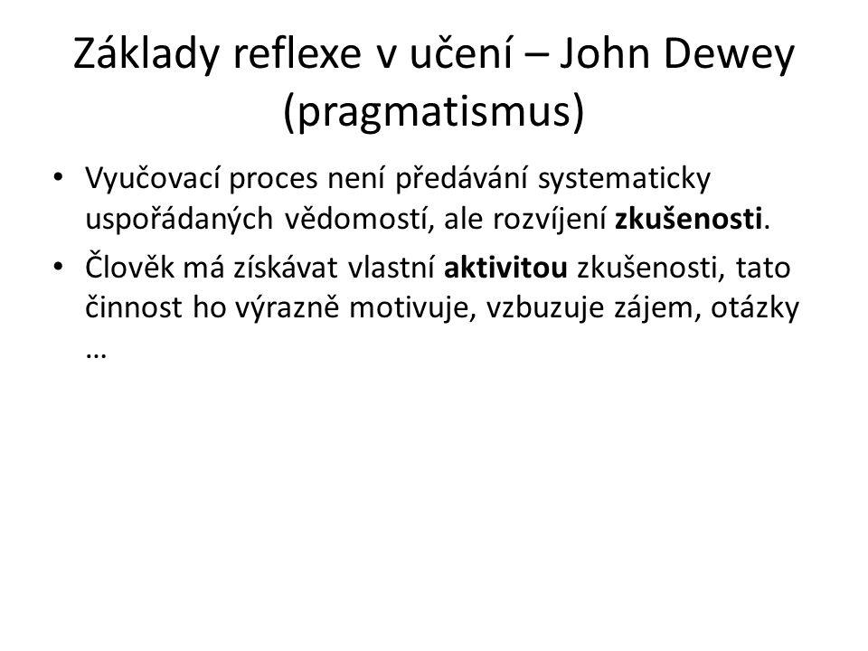 Základy reflexe v učení – John Dewey (pragmatismus) Vyučovací proces není předávání systematicky uspořádaných vědomostí, ale rozvíjení zkušenosti.