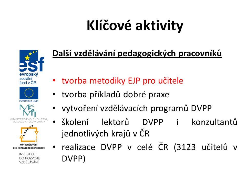 Další vzdělávání pedagogických pracovníků tvorba metodiky EJP pro učitele tvorba příkladů dobré praxe vytvoření vzdělávacích programů DVPP školení lektorů DVPP i konzultantů jednotlivých krajů v ČR realizace DVPP v celé ČR (3123 učitelů v DVPP) Klíčové aktivity