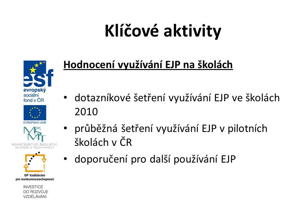 Hodnocení využívání EJP na školách dotazníkové šetření využívání EJP ve školách 2010 průběžná šetření využívání EJP v pilotních školách v ČR doporučení pro další používání EJP Klíčové aktivity