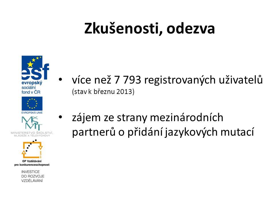 více než 7 793 registrovaných uživatelů (stav k březnu 2013) zájem ze strany mezinárodních partnerů o přidání jazykových mutací Zkušenosti, odezva