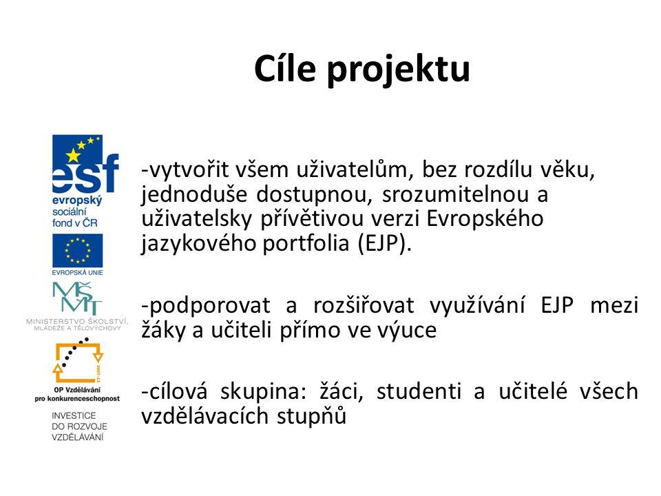 -vytvořit všem uživatelům, bez rozdílu věku, jednoduše dostupnou, srozumitelnou a uživatelsky přívětivou verzi Evropského jazykového portfolia (EJP).