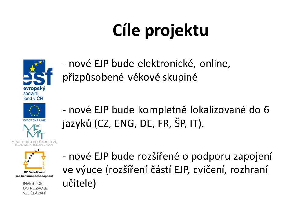 - nové EJP bude elektronické, online, přizpůsobené věkové skupině - nové EJP bude kompletně lokalizované do 6 jazyků (CZ, ENG, DE, FR, ŠP, IT).