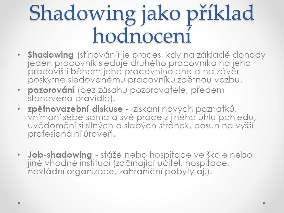 Shadowing jako příklad hodnocení Shadowing (stínování) je proces, kdy na základě dohody jeden pracovník sleduje druhého pracovníka na jeho pracovišti během jeho pracovního dne a na závěr poskytne sledovanému pracovníku zpětnou vazbu.