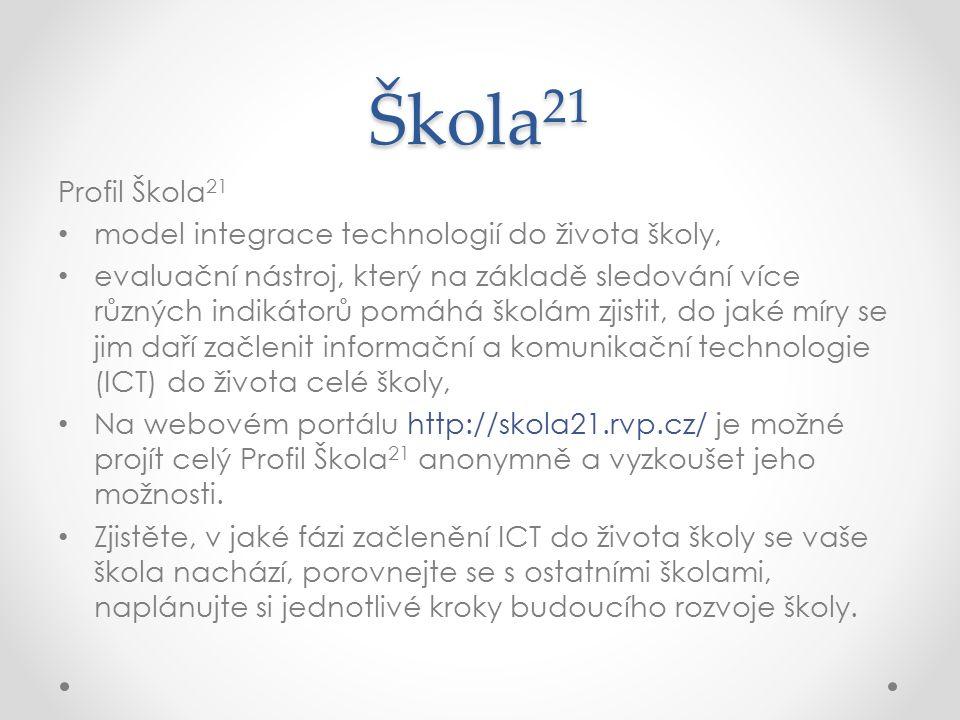 Škola 21 Profil Škola 21 model integrace technologií do života školy, evaluační nástroj, který na základě sledování více různých indikátorů pomáhá školám zjistit, do jaké míry se jim daří začlenit informační a komunikační technologie (ICT) do života celé školy, Na webovém portálu http://skola21.rvp.cz/ je možné projít celý Profil Škola 21 anonymně a vyzkoušet jeho možnosti.