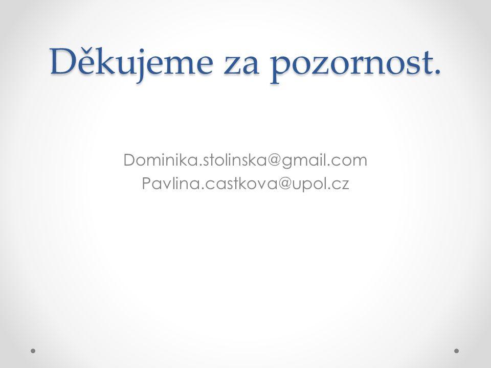 Děkujeme za pozornost. Dominika.stolinska@gmail.com Pavlina.castkova@upol.cz