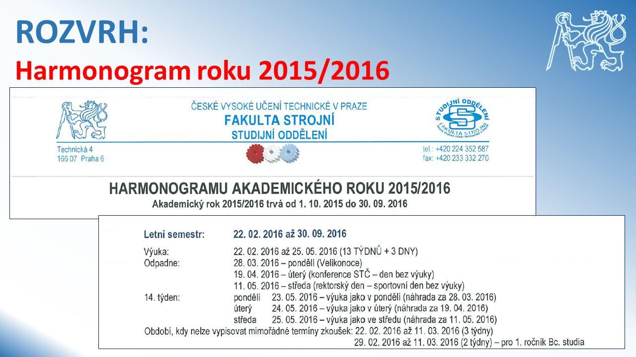 ROZVRH: Harmonogram roku 2015/2016