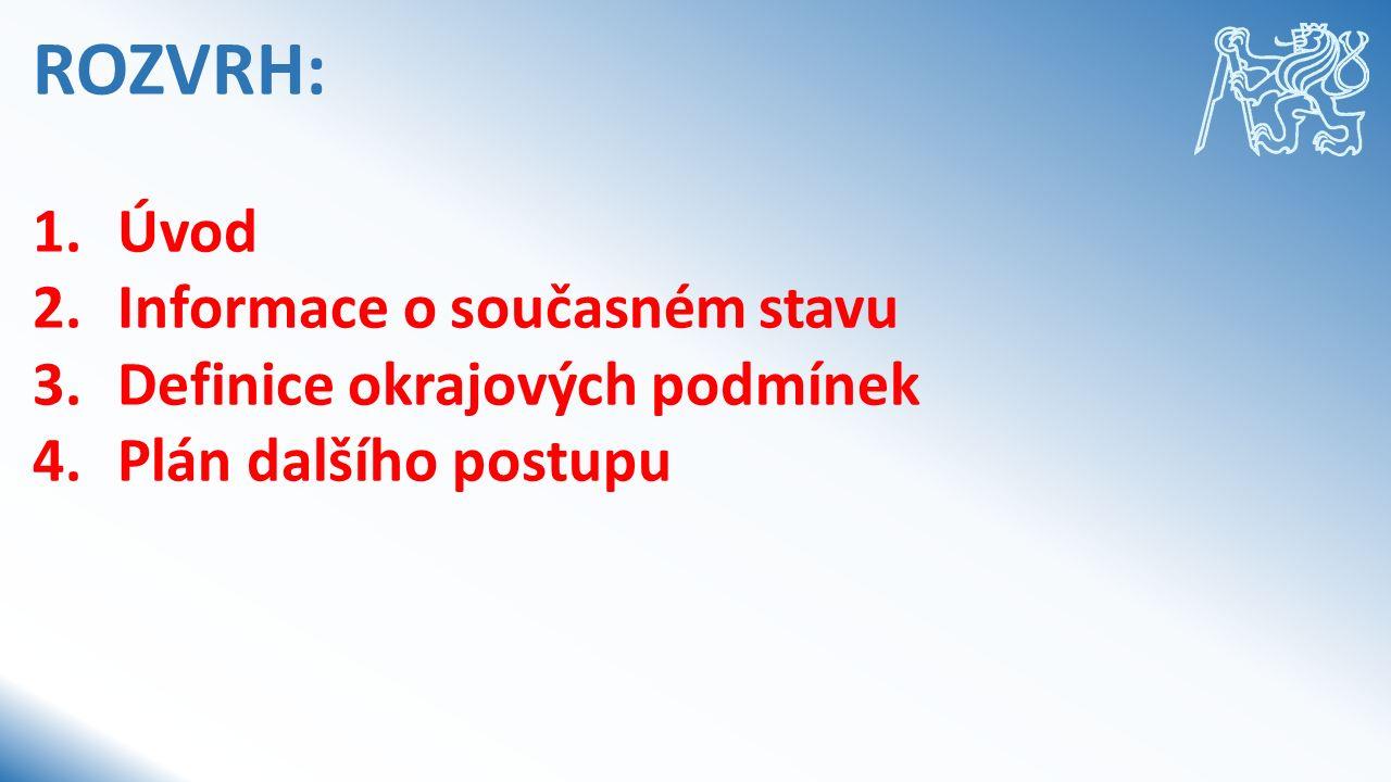 ROZVRH: 1.Úvod 2.Informace o současném stavu 3.Definice okrajových podmínek 4.Plán dalšího postupu
