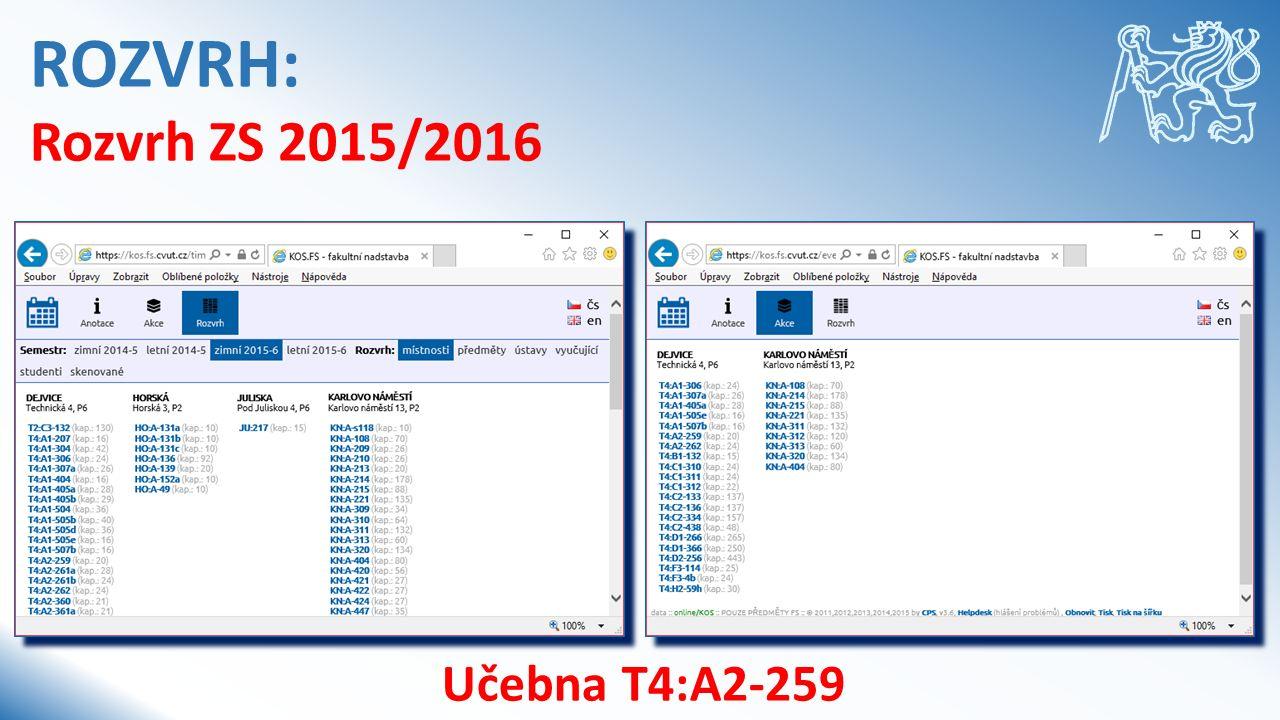 ROZVRH: Rozvrh ZS 2015/2016 Učebna T4:A2-259