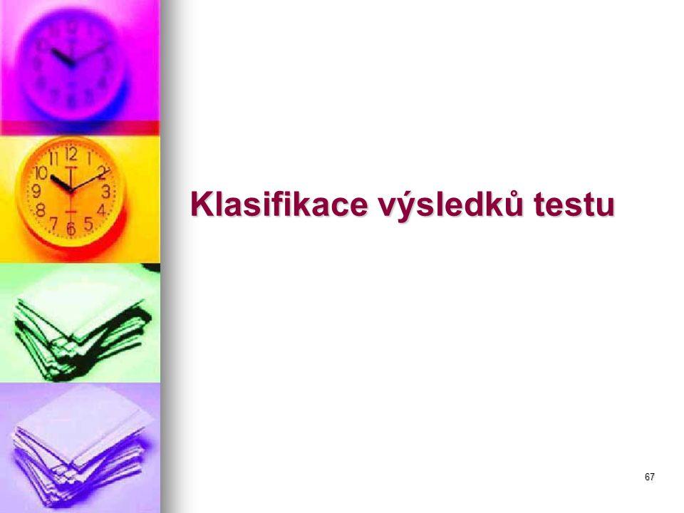67 Klasifikace výsledků testu