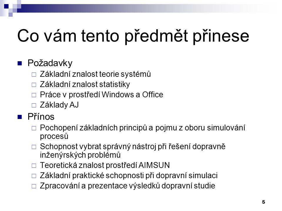 5 Co vám tento předmět přinese Požadavky  Základní znalost teorie systémů  Základní znalost statistiky  Práce v prostředí Windows a Office  Základ