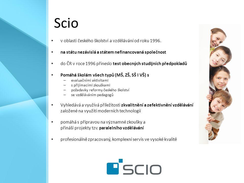 Scio v oblasti českého školství a vzdělávání od roku 1996.