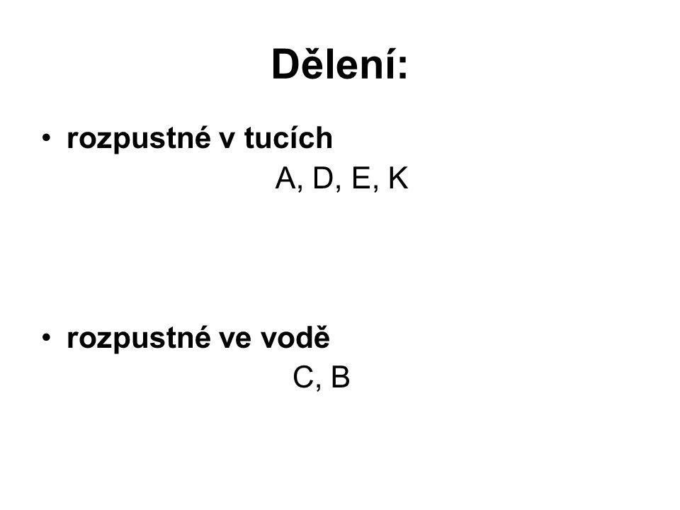 Dělení: rozpustné v tucích A, D, E, K rozpustné ve vodě C, B