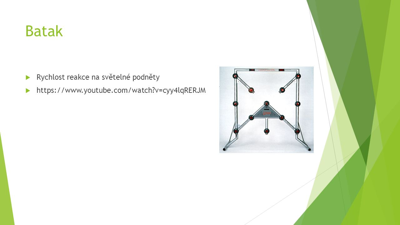Batak  Rychlost reakce na světelné podněty  https://www.youtube.com/watch?v=cyy4lqRERJM