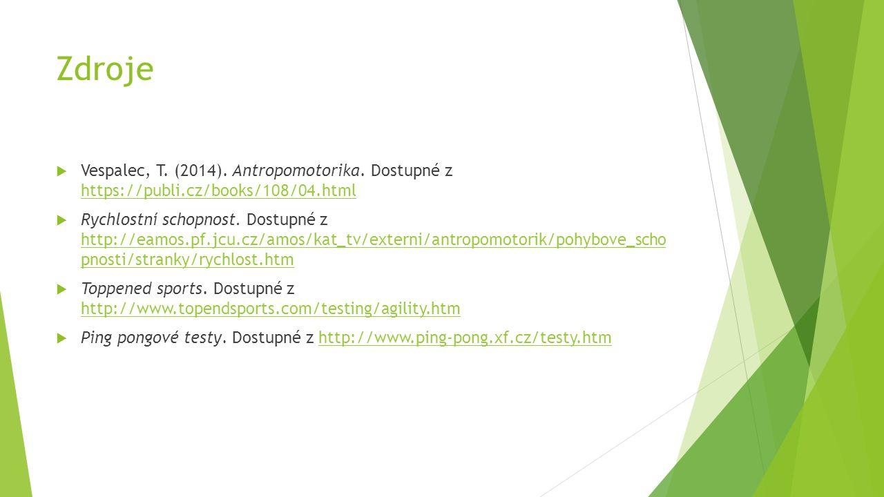 Zdroje  Vespalec, T. (2014). Antropomotorika. Dostupné z https://publi.cz/books/108/04.html https://publi.cz/books/108/04.html  Rychlostní schopnost