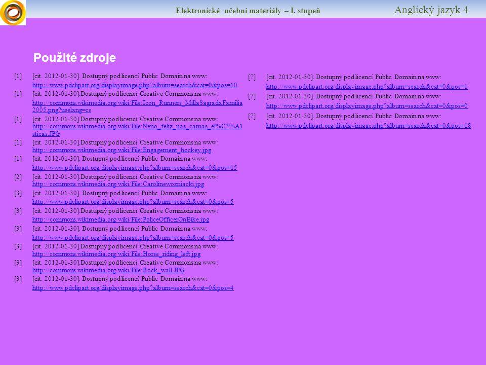 Elektronické učební materiály – I. stupeň Anglický jazyk 4 Krátký test Najdeš sport.