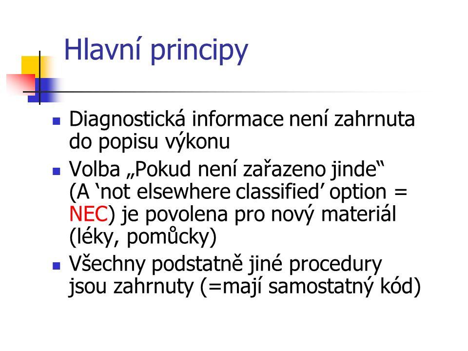 """Hlavní principy Diagnostická informace není zahrnuta do popisu výkonu Volba """"Pokud není zařazeno jinde (A 'not elsewhere classified' option = NEC) je povolena pro nový materiál (léky, pomůcky) Všechny podstatně jiné procedury jsou zahrnuty (=mají samostatný kód)"""
