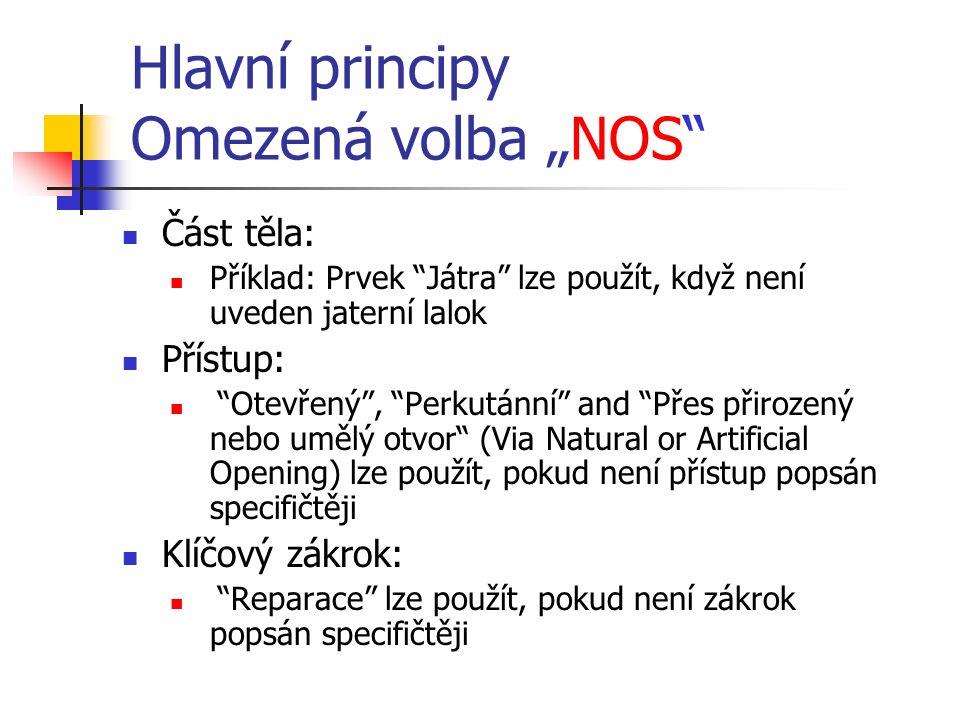 """Hlavní principy Omezená volba """"NOS"""" Část těla: Příklad: Prvek """"Játra"""" lze použít, když není uveden jaterní lalok Přístup: """"Otevřený"""", """"Perkutánní"""" and"""