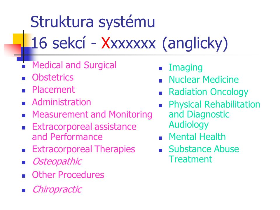 Struktura systému 16 sekcí - Xxxxxxx (anglicky) Medical and Surgical Obstetrics Placement Administration Measurement and Monitoring Extracorporeal assistance and Performance Extracorporeal Therapies Osteopathic Other Procedures Chiropractic Imaging Nuclear Medicine Radiation Oncology Physical Rehabilitation and Diagnostic Audiology Mental Health Substance Abuse Treatment
