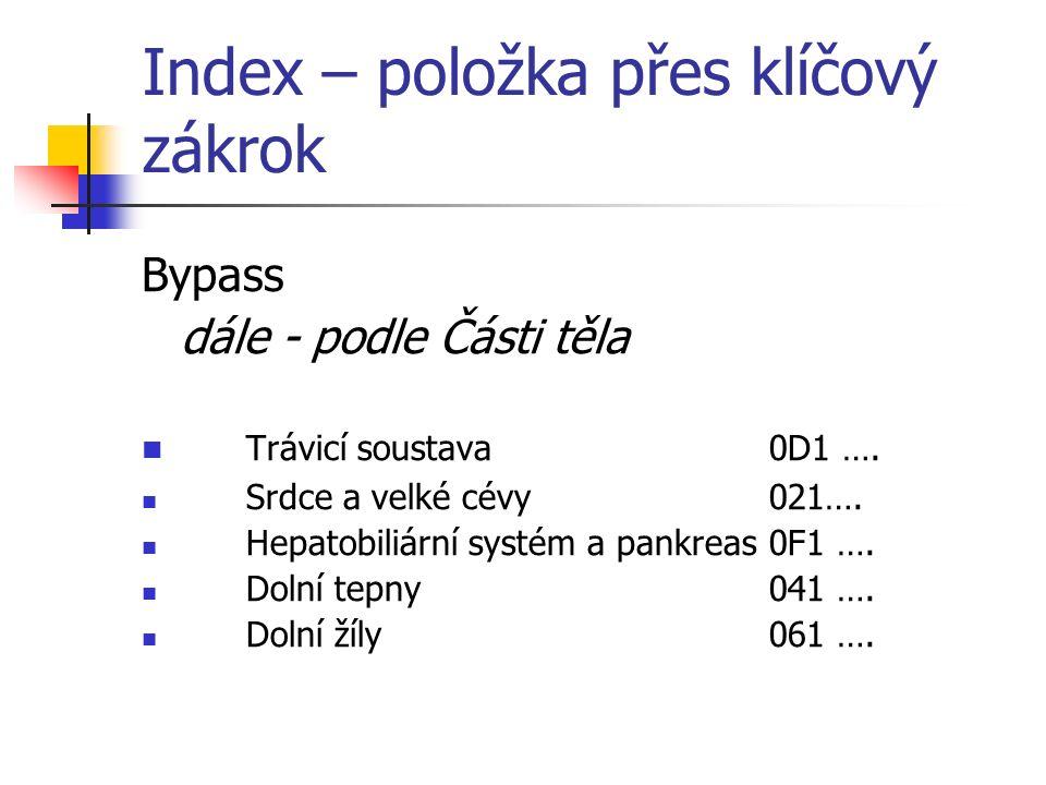 Index – položka přes klíčový zákrok Bypass dále - podle Části těla Trávicí soustava0D1 ….