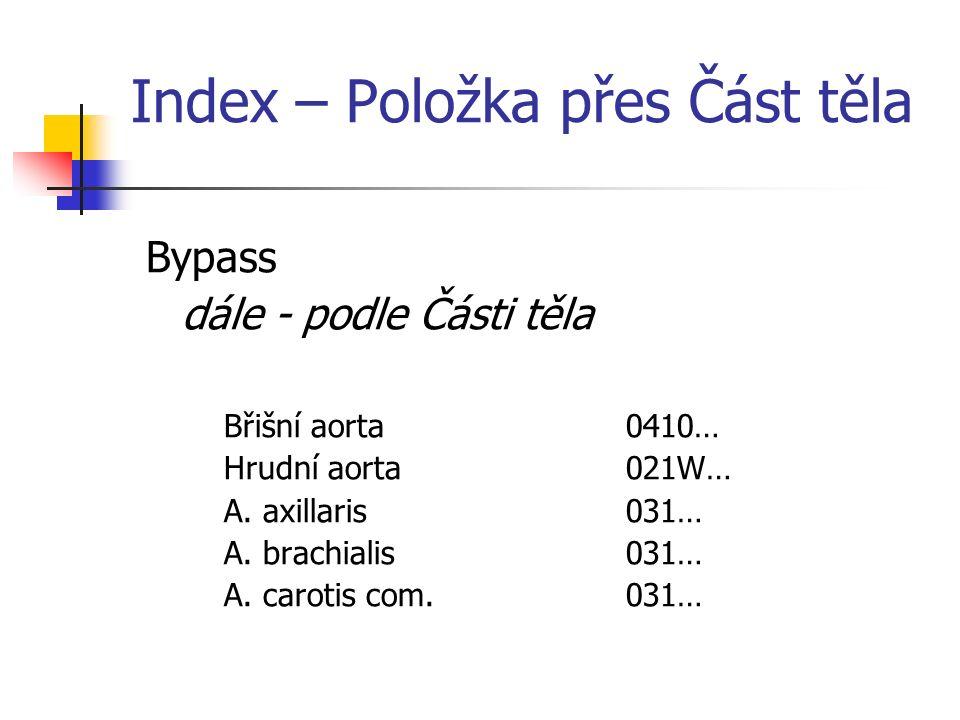 Index – Položka přes Část těla Bypass dále - podle Části těla Břišní aorta0410… Hrudní aorta021W… A.