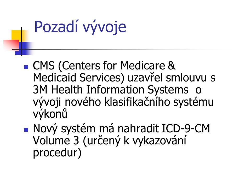 Pozadí vývoje CMS (Centers for Medicare & Medicaid Services) uzavřel smlouvu s 3M Health Information Systems o vývoji nového klasifikačního systému výkonů Nový systém má nahradit ICD-9-CM Volume 3 (určený k vykazování procedur)
