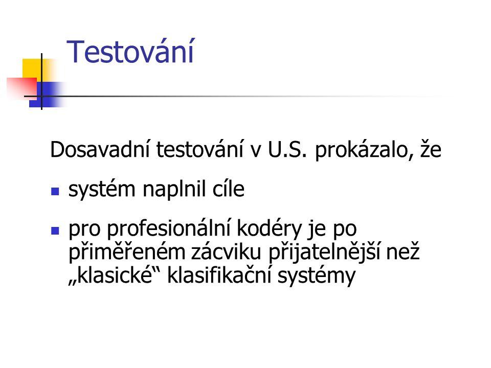 Testování Dosavadní testování v U.S.
