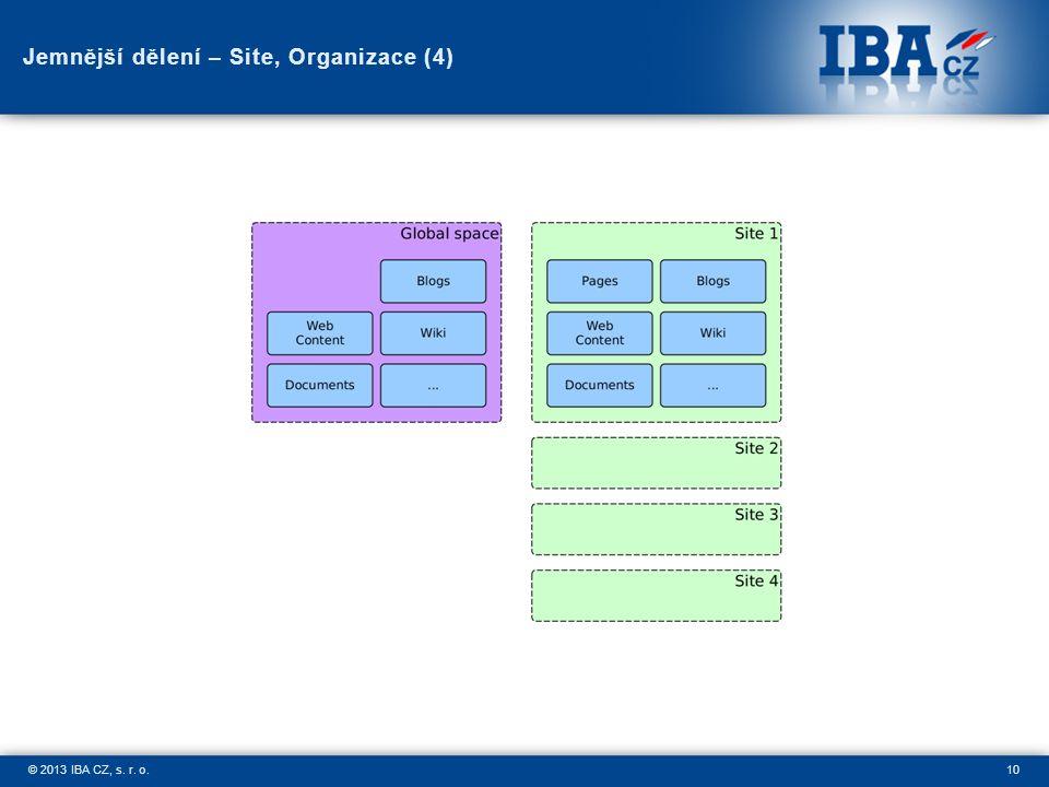 10© 2013 IBA CZ, s. r. o. Jemnější dělení – Site, Organizace (4)