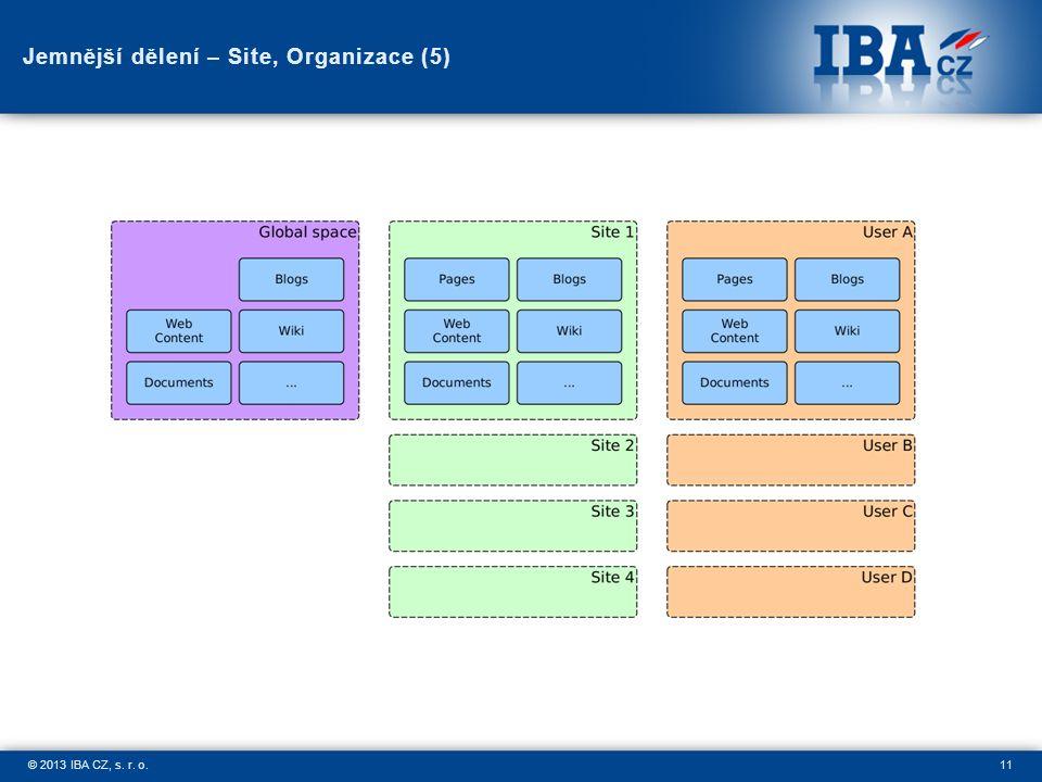 11© 2013 IBA CZ, s. r. o. Jemnější dělení – Site, Organizace (5)