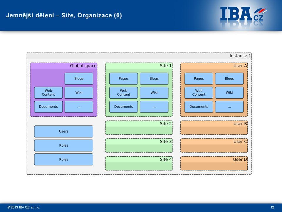 12© 2013 IBA CZ, s. r. o. Jemnější dělení – Site, Organizace (6)