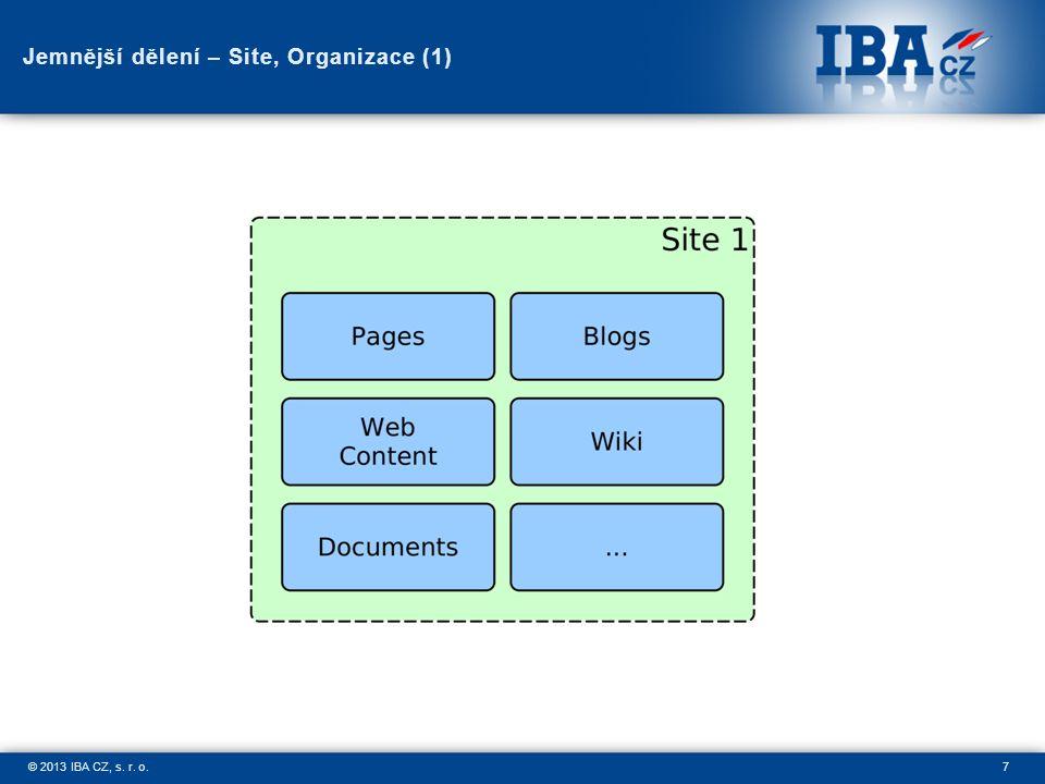 7© 2013 IBA CZ, s. r. o. Jemnější dělení – Site, Organizace (1)
