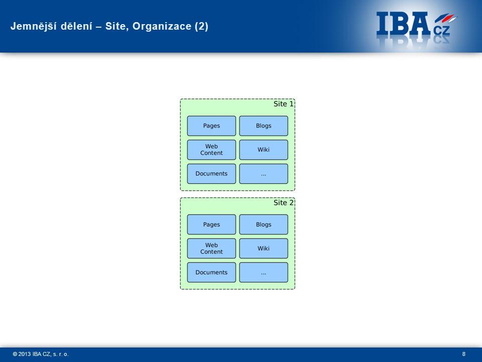 8© 2013 IBA CZ, s. r. o. Jemnější dělení – Site, Organizace (2)