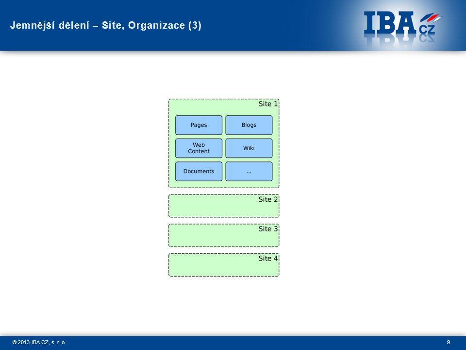 9© 2013 IBA CZ, s. r. o. Jemnější dělení – Site, Organizace (3)