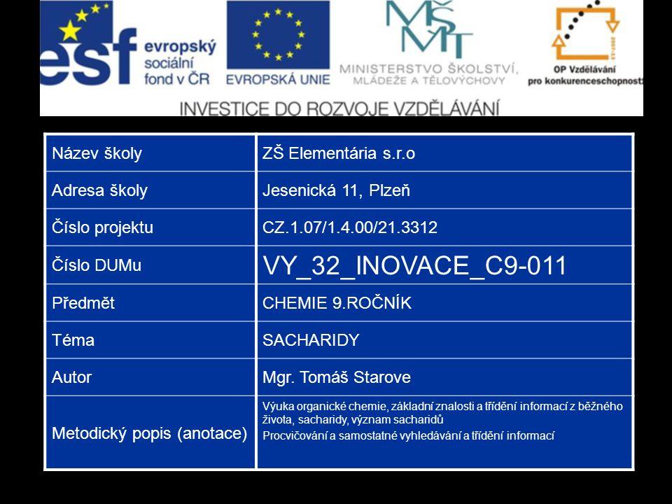 Název školyZŠ Elementária s.r.o Adresa školyJesenická 11, Plzeň Číslo projektuCZ.1.07/1.4.00/21.3312 Číslo DUMu VY_32_INOVACE_C9-011 PředmětCHEMIE 9.ROČNÍK TémaSACHARIDY AutorMgr.