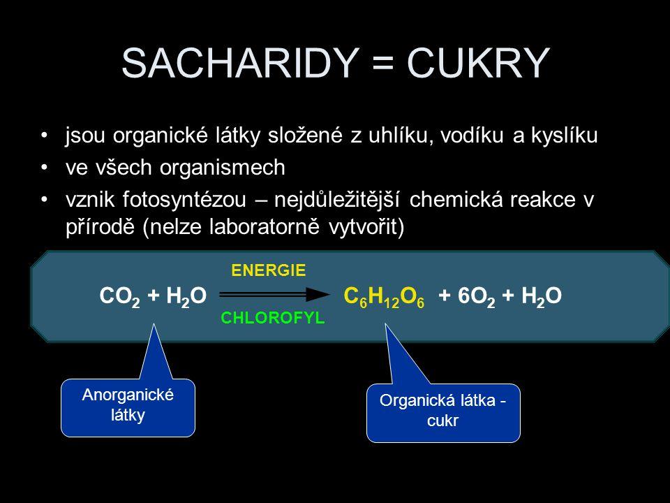 SACHARIDY = CUKRY jsou organické látky složené z uhlíku, vodíku a kyslíku ve všech organismech vznik fotosyntézou – nejdůležitější chemická reakce v přírodě (nelze laboratorně vytvořit) CO 2 + H 2 O C 6 H 12 O 6 + 6O 2 + H 2 O ENERGIE CHLOROFYL Anorganické látky Organická látka - cukr