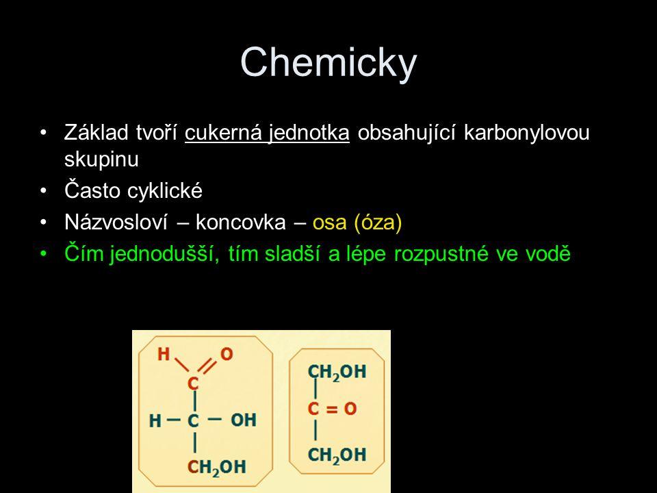 Chemicky Základ tvoří cukerná jednotka obsahující karbonylovou skupinu Často cyklické Názvosloví – koncovka – osa (óza) Čím jednodušší, tím sladší a lépe rozpustné ve vodě