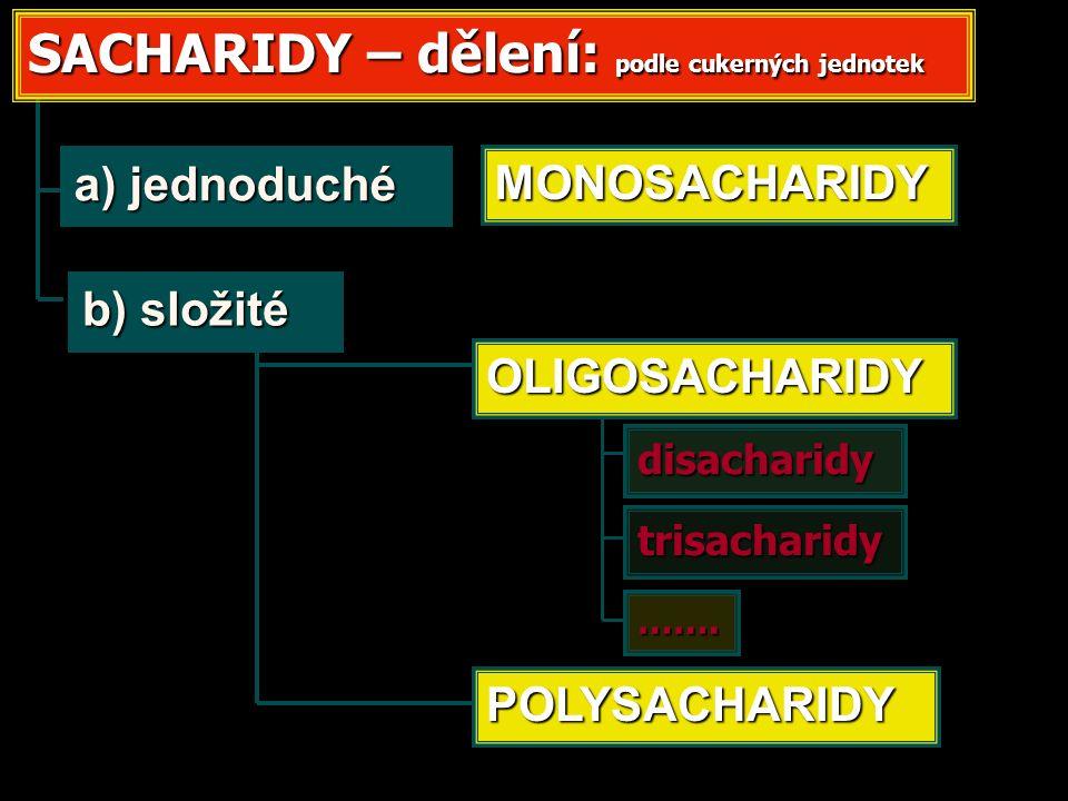 a) jednoduché b) složité disacharidy trisacharidy SACHARIDY – dělení: podle cukerných jednotek MONOSACHARIDY OLIGOSACHARIDY POLYSACHARIDY …….