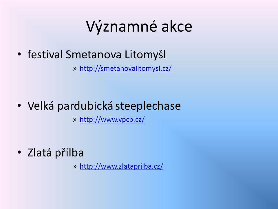 Významné akce festival Smetanova Litomyšl » http://smetanovalitomysl.cz/ http://smetanovalitomysl.cz/ Velká pardubická steeplechase » http://www.vpcp.cz/ http://www.vpcp.cz/ Zlatá přilba » http://www.zlataprilba.cz/ http://www.zlataprilba.cz/