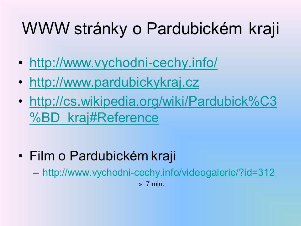 WWW stránky o Pardubickém kraji http://www.vychodni-cechy.info/ http://www.pardubickykraj.cz http://cs.wikipedia.org/wiki/Pardubick%C3 %BD_kraj#Referencehttp://cs.wikipedia.org/wiki/Pardubick%C3 %BD_kraj#Reference Film o Pardubickém kraji –http://www.vychodni-cechy.info/videogalerie/ id=312http://www.vychodni-cechy.info/videogalerie/ id=312 »7 min.