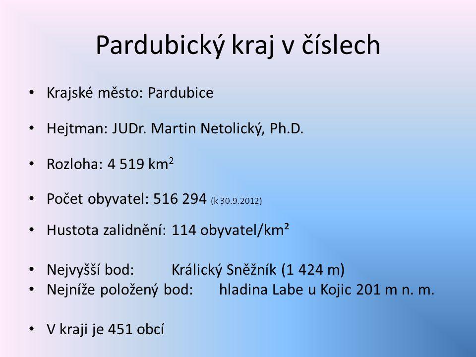 Pardubický kraj v číslech Krajské město: Pardubice Hejtman: JUDr.
