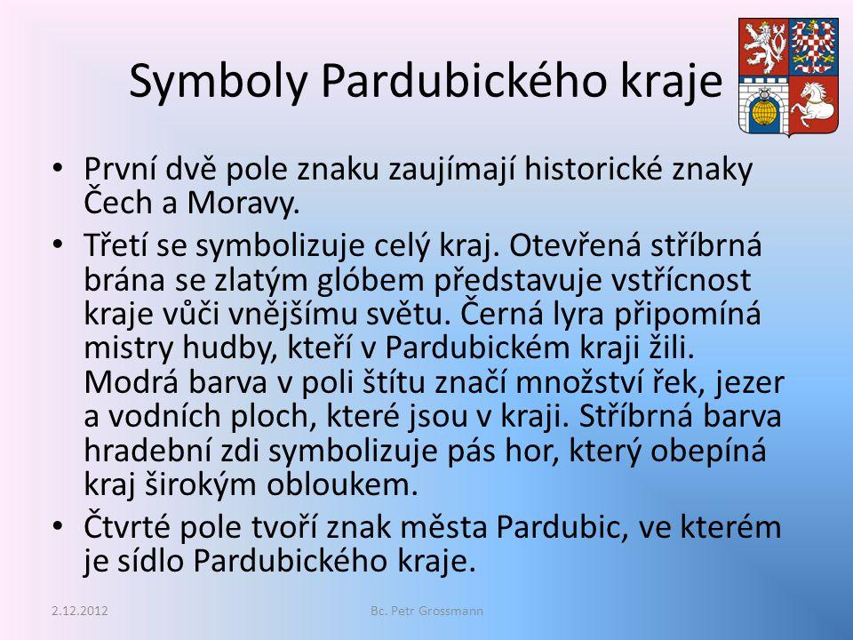Symboly Pardubického kraje První dvě pole znaku zaujímají historické znaky Čech a Moravy.