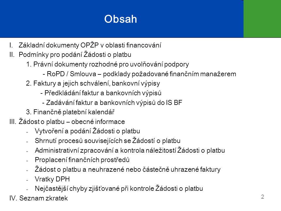I.Základní dokumenty OPŽP v oblasti financování Implementační dokument Kap.