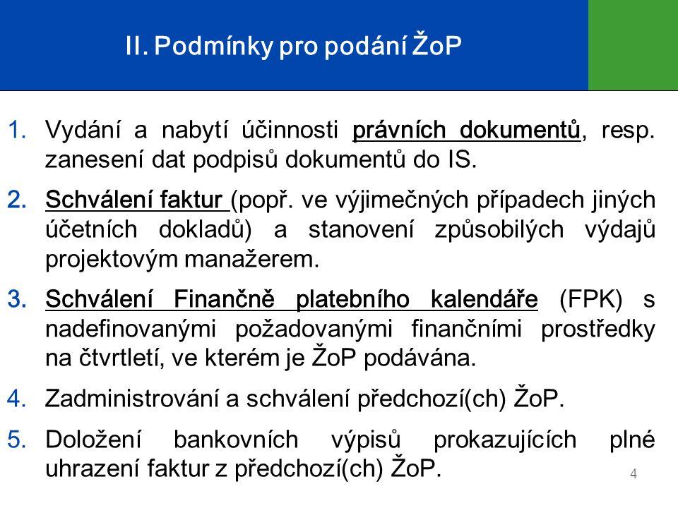 II. Podmínky pro podání ŽoP 1.Vydání a nabytí účinnosti právních dokumentů, resp.