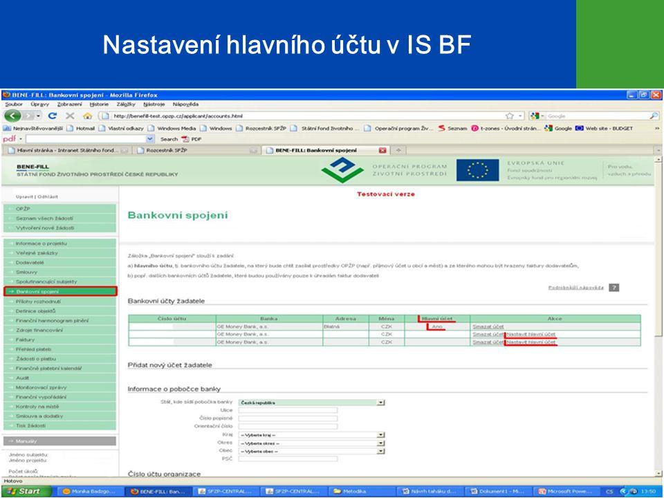 Nastavení hlavního účtu v IS BF 10
