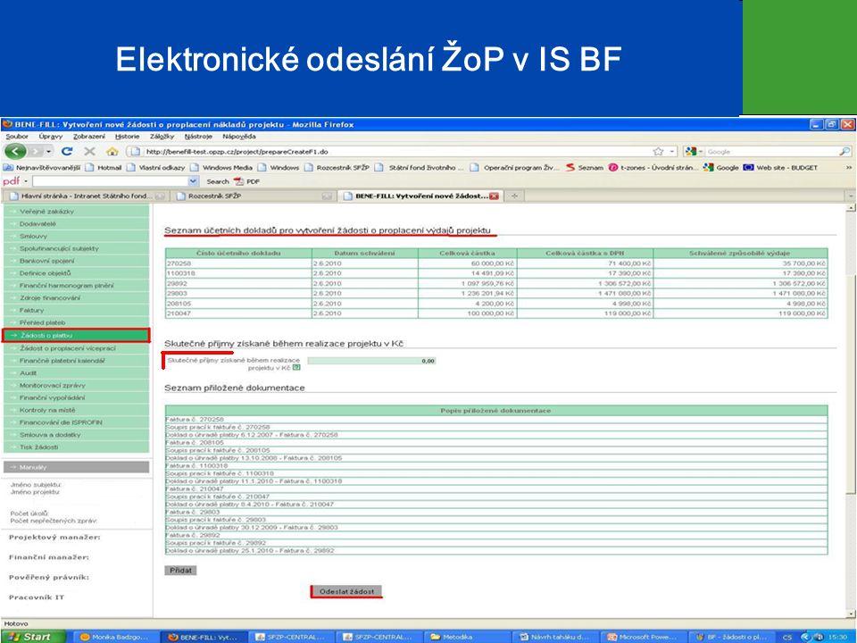 Elektronické odeslání ŽoP v IS BF 22