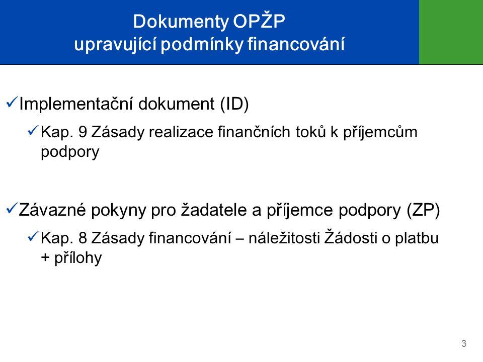 Dokumenty OPŽP upravující podmínky financování Implementační dokument (ID) Kap. 9 Zásady realizace finančních toků k příjemcům podpory Závazné pokyny