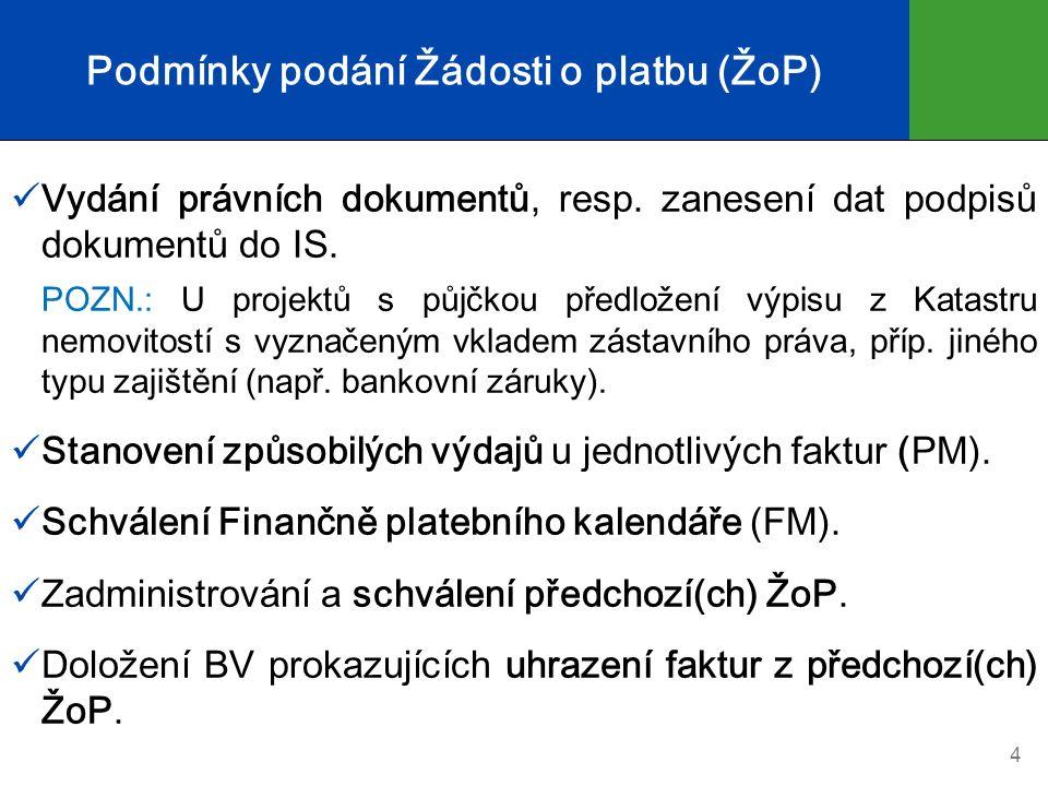 Právní dokumenty rozhodné pro uvolnění podpory Rozhodnutí o poskytnutí dotace (RoPD) Stanovení výdajů na financování akce organizační složky státu (StV) → je-li žadatelem organizační složka státu (OSS) Nedílnou součástí RoPD/StV jsou dvě přílohy:  Podmínky poskytnutí podpory  Technická a finanční příloha (TFP) Smlouva o poskytnutí podpory ze SFŽP ČR → je-li poskytována dotace, příp.