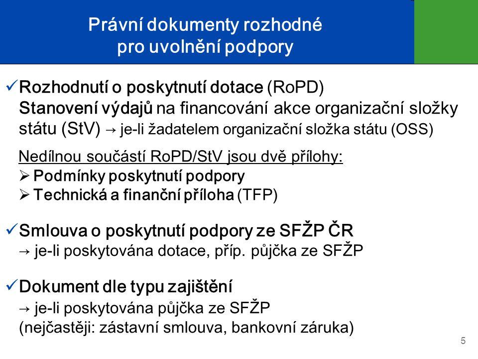 Právní dokumenty rozhodné pro uvolnění podpory Rozhodnutí o poskytnutí dotace (RoPD) Stanovení výdajů na financování akce organizační složky státu (St