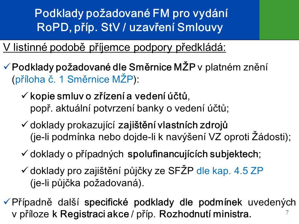 Podklady požadované FM pro vydání RoPD, příp. StV / uzavření Smlouvy V listinné podobě příjemce podpory předkládá: Podklady požadované dle Směrnice MŽ