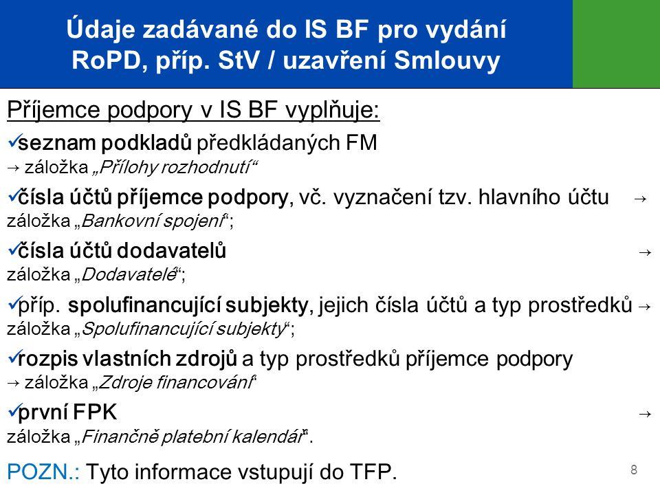 """Údaje zadávané do IS BF pro vydání RoPD, příp. StV / uzavření Smlouvy Příjemce podpory v IS BF vyplňuje: seznam podkladů předkládaných FM → záložka """"P"""