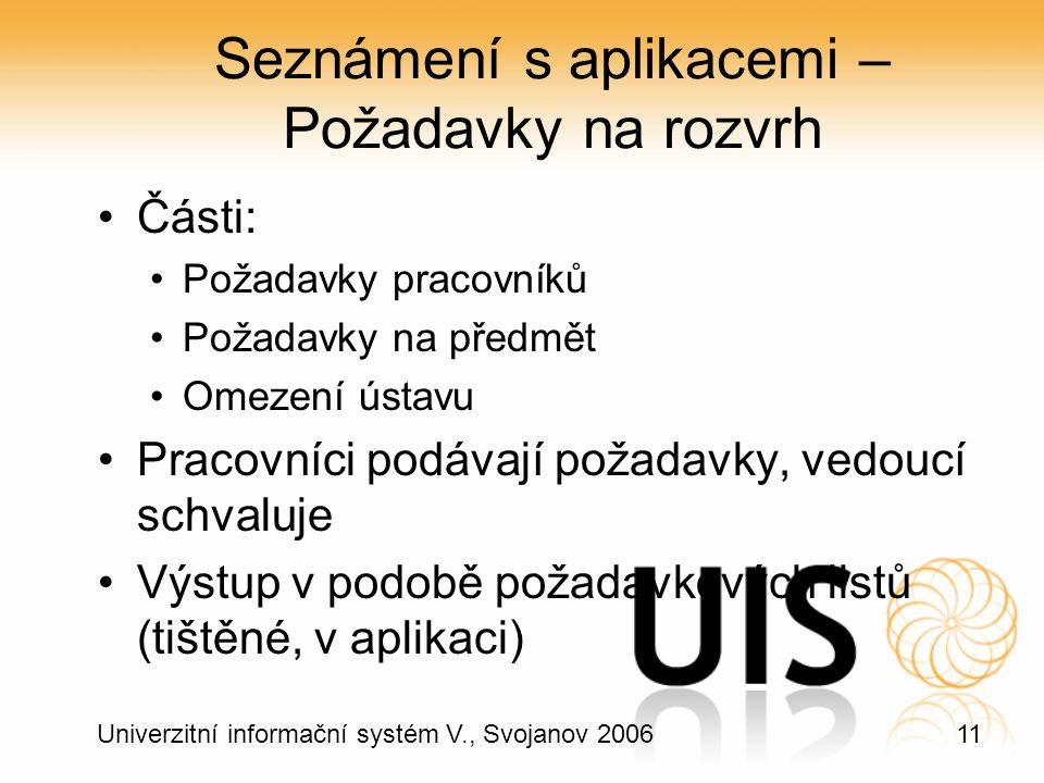 11 Univerzitní informační systém V., Svojanov 2006 Seznámení s aplikacemi – Požadavky na rozvrh Části: Požadavky pracovníků Požadavky na předmět Omezení ústavu Pracovníci podávají požadavky, vedoucí schvaluje Výstup v podobě požadavkových listů (tištěné, v aplikaci)